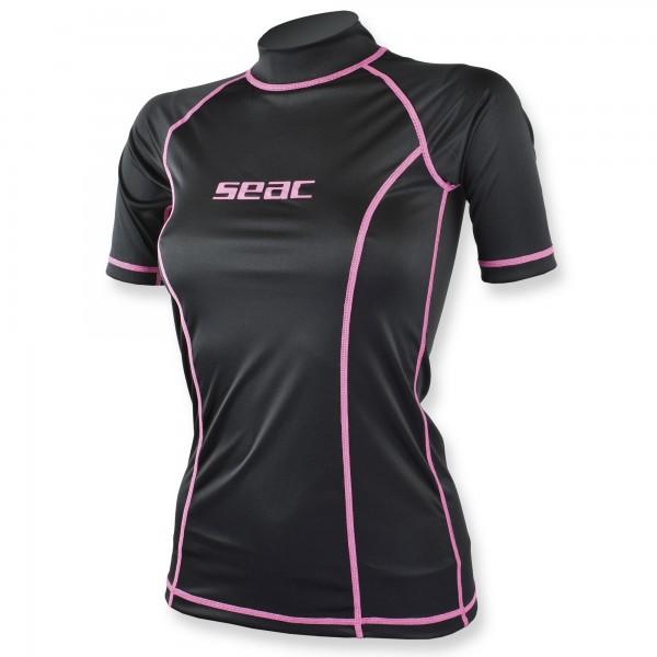 Seac T-Sun Rash Guard Damen schwarz pink - Sonnenschutzshirt kurzarm UPF 50+