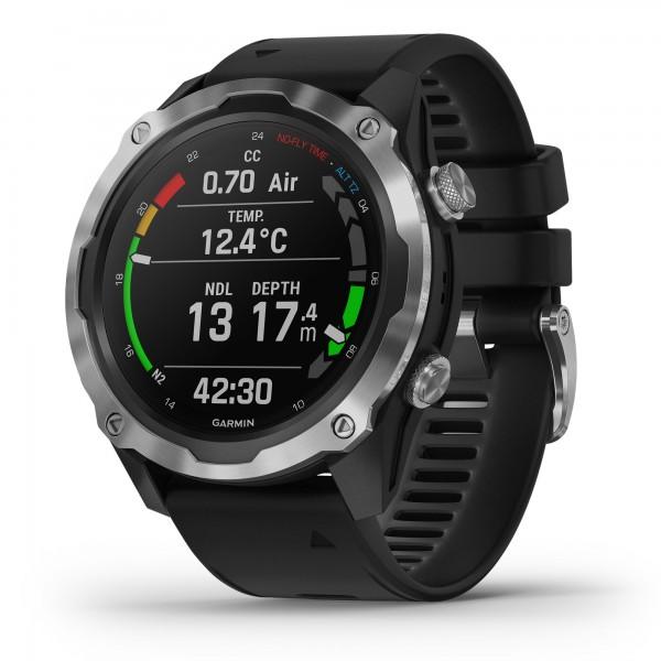 Garmin Descent MK2 Tauchcomputer mit GPS schwarz silber - Silikonarmband