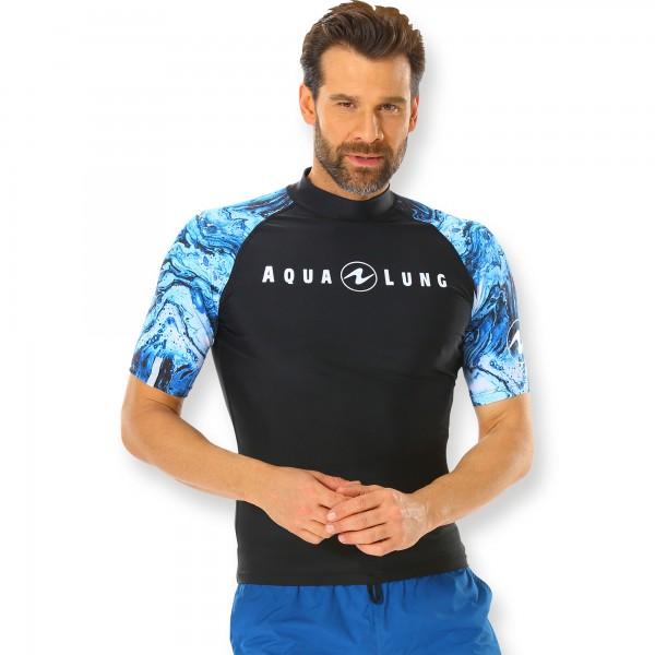 Aqualung Rash Guard Aqua Herren schwarz  blau - kurzarm UPF 50+