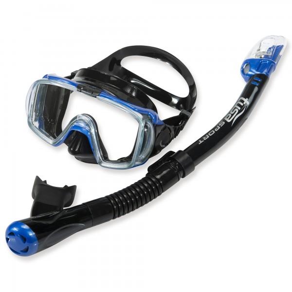 Tusa Schnorchelset Belize - 3-Glas Maske mit Trockenschnorchel - blau