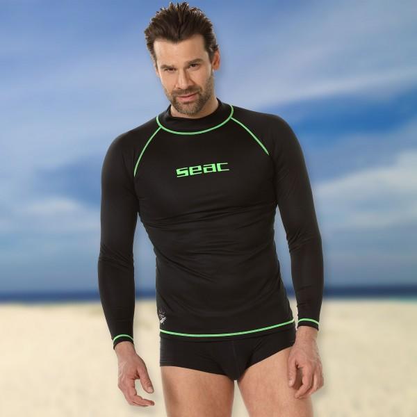 Seac T-Sun Rash Guard Men schwarz grün  - Sonnenschutzshirt langarm UPF 50+