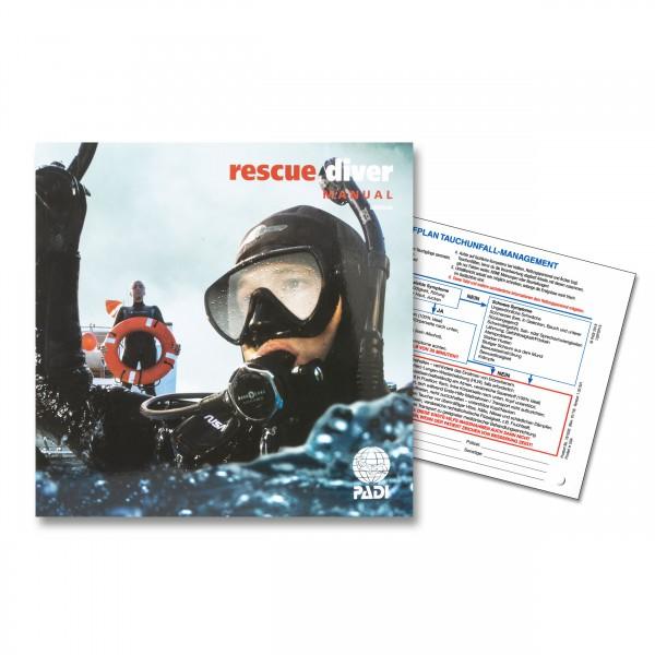 Padi Rescue-Diver-Manual (D) mit Notfalltafel