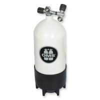 OMS - BTS Stahlflasche 12 Liter kurz mit Ventil und Zweitabgang