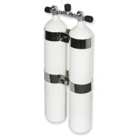 OMS - BTS Doppel-Stahlflasche 8,5 Liter KONKAV DIR Style mit Edelstahlschellen