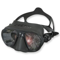 Cressi Calibro Mirror Maske - schwarzes Silikon, kleines Volumen