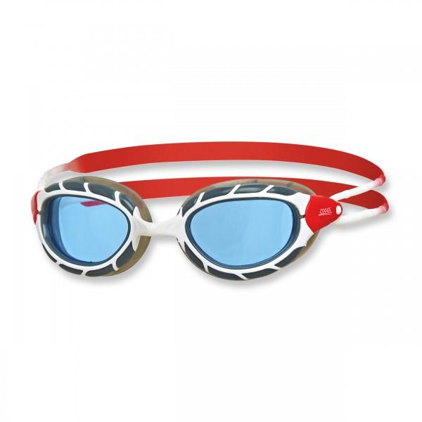 Zoggs Schwimmbrille Predator Regular Fit, white red tint - blaues Glas