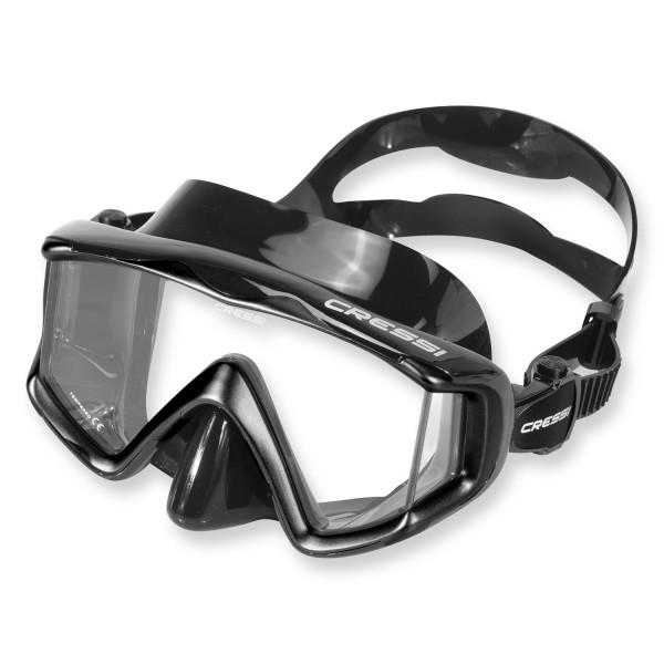 Cressi Liberty Triside Maske - schwarzes Silikon, 3-Glas Bauweise