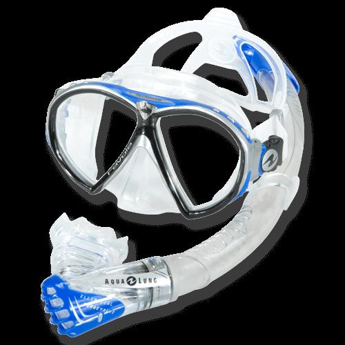 Aqualung Schnorchelset Mirenda - mit Ventilschnorchel, blau