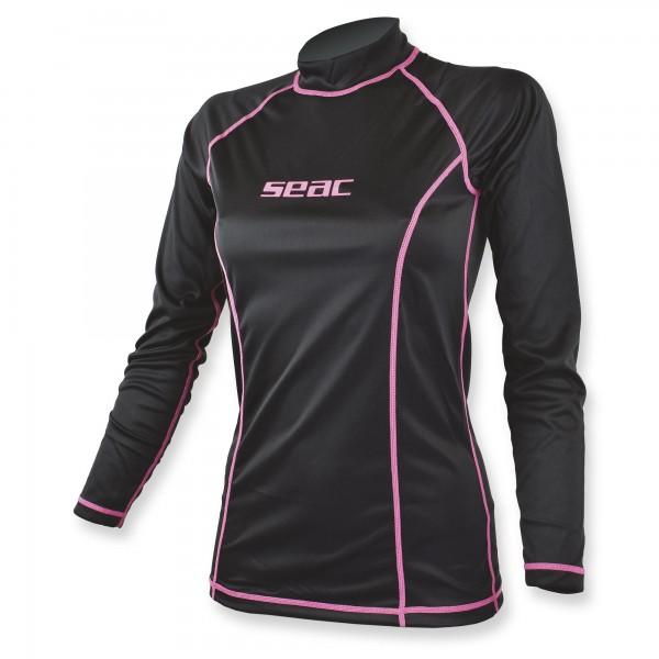 Seac T-Sun Rash Guard Damen schwarz pink - Sonnenschutzshirt langarm UPF 50+