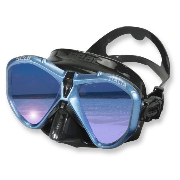 Seac Italia Tauchmaske aus schwarzem Silikon - schwarz blau verspiegelte Gläser