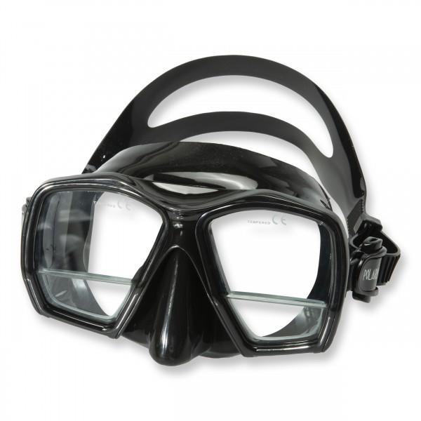 Polaris Maske Plus - schwarzes Silikon mit Lesegläserm +1,75 Dioptrien