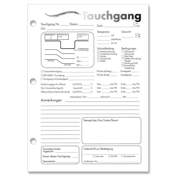 PADI Log Page Refill - Logbucheinlagen