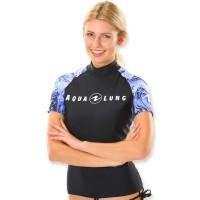Aqualung Rash Guard Aqua Damen Lila weiß - kurzarm UPF 50+