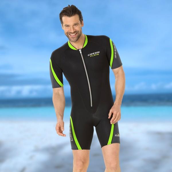 Cressi Wassersportanzug Shorty Playa 2.5 mm Neopren - Herren schwarz lime
