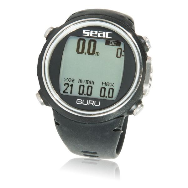 Seac Guru Tauchcomputer  für Luft und Nitrox - Uhrenformat, schwarz