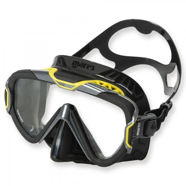 Mares Pure Wire Tauch- und Schnorchelmaske - grau-gelb, schwarzes Silikon