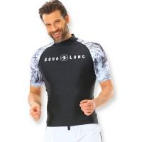 Aqualung Rash Guard Aqua Herren schwarz weiß - kurzarm UPF 50+