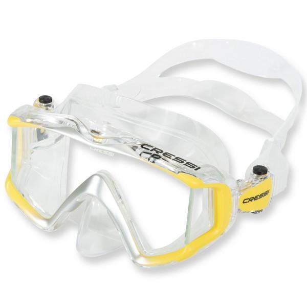 Cressi Liberty Triside Maske - clear Silikon, 3-Glas Bauweise, gelb
