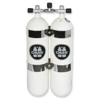 OMS - BTS Doppel-Stahlflasche 12 Liter lang, DIR Style mit Edelstahlschellen