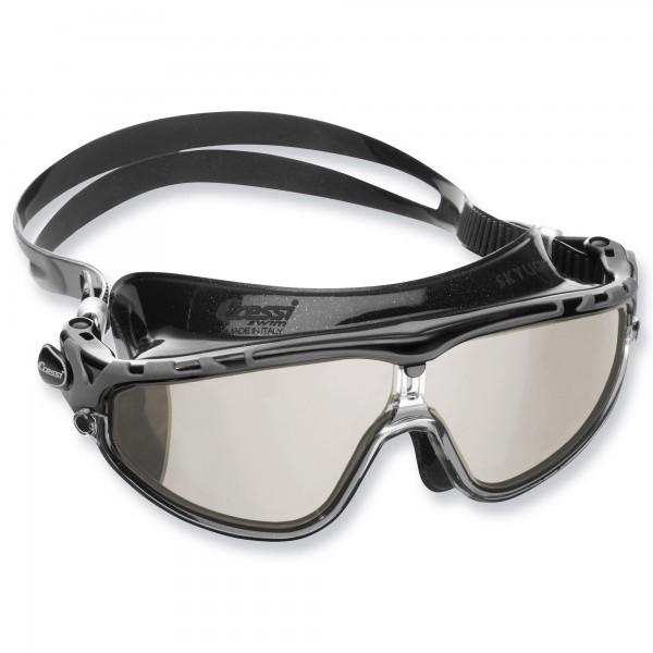 Cressi Schwimmbrille Skylight Mirrored - Anti Fog Gläser, schwarzes Silikon