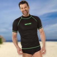 Seac T-Sun Rash Guard Men schwarz grün - Sonnenschutzshirt kurzarm UPF 50+